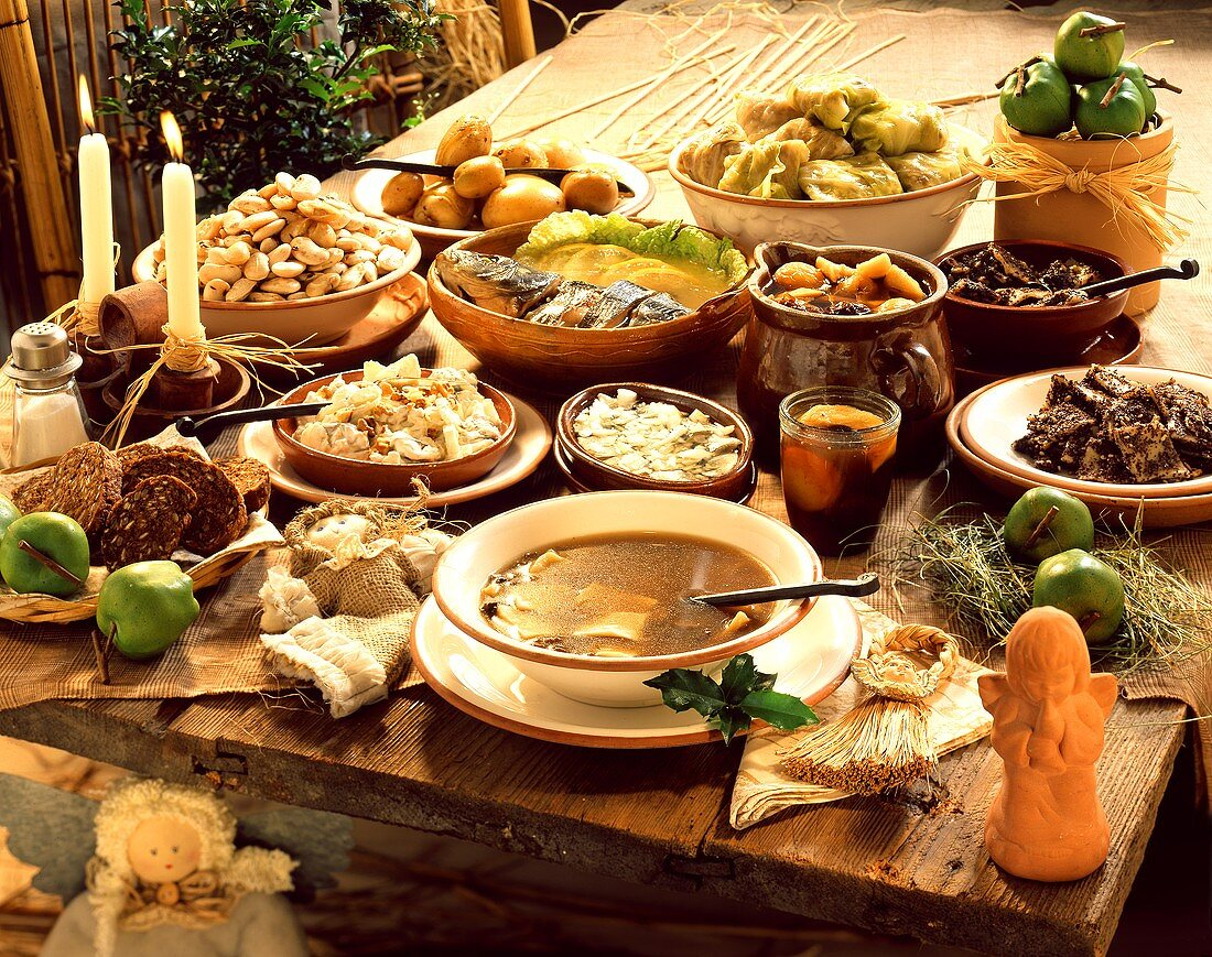 Rustic table with dishes for Christmas Eve (Poland)