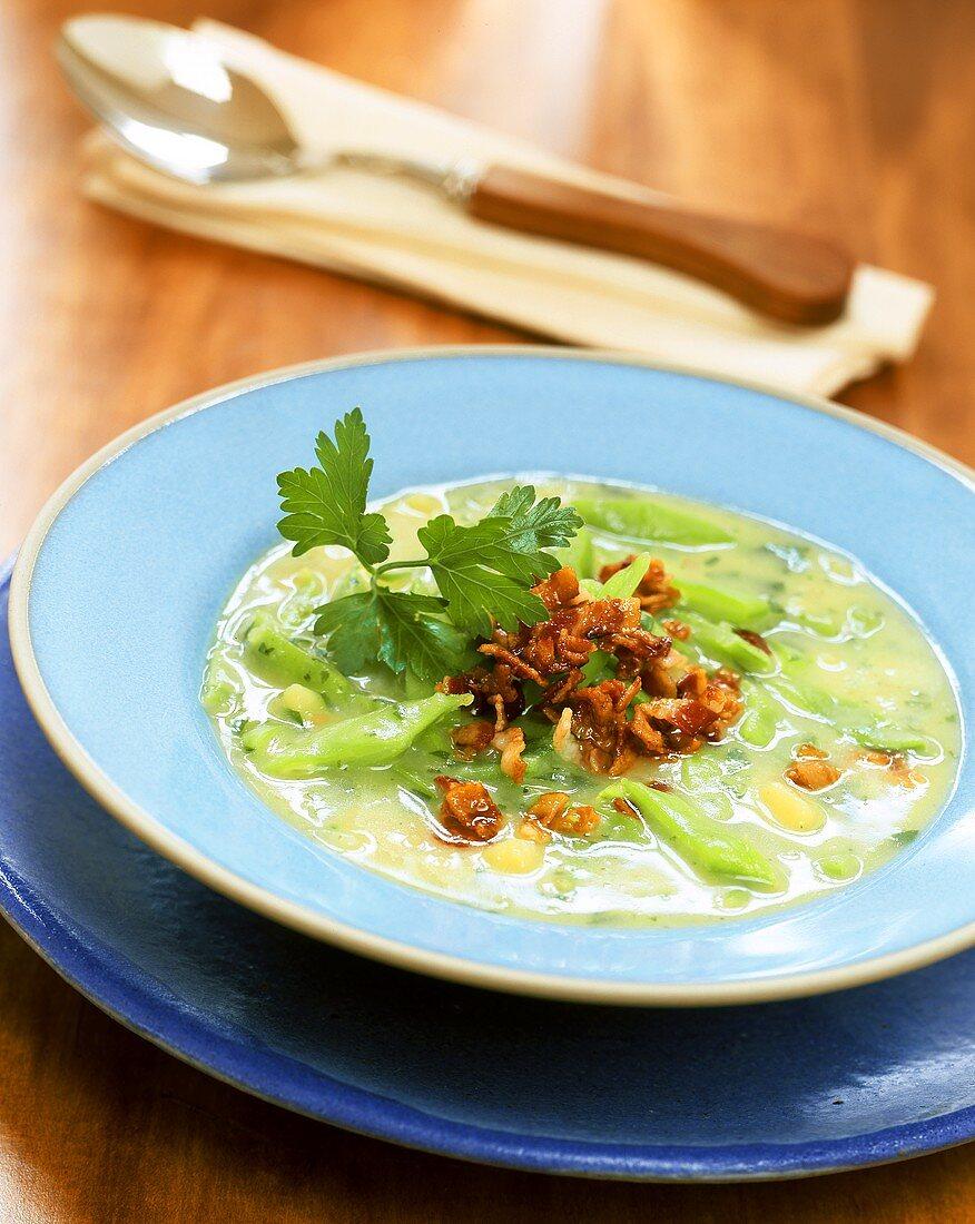 Green bean soup with bacon