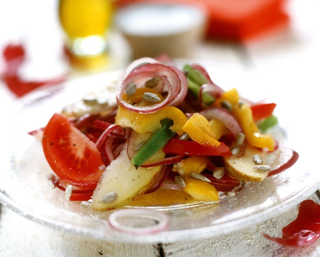 Colourful salad with red onions, peppers, apples and tomatoes