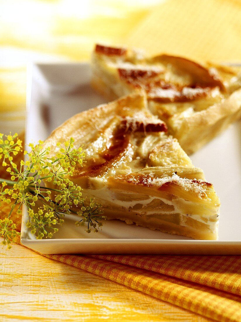 Fennel and apple quiche with Parmesan