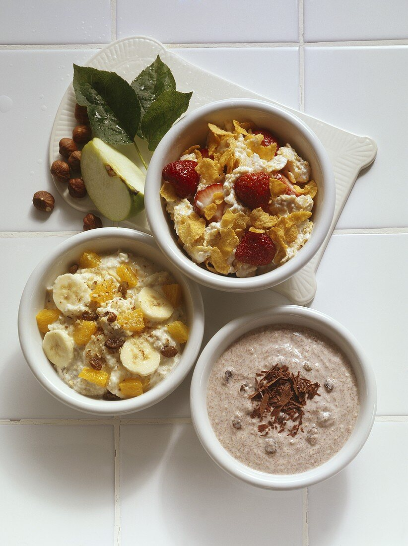 Three Assorted Cereals with Assorted Fruit