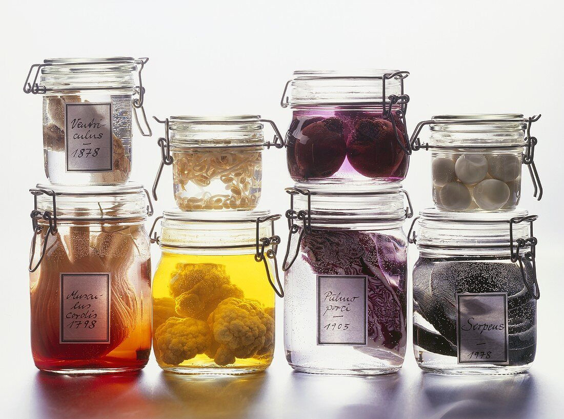 Vegetables in preserving jars (Halloween party decorations)