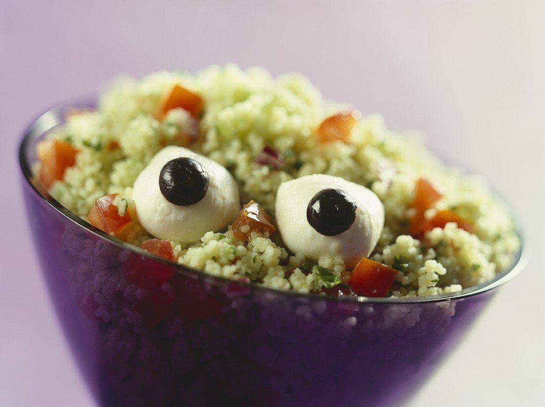 Eyeball salad (bulghur with tomatoes and mozzarella)