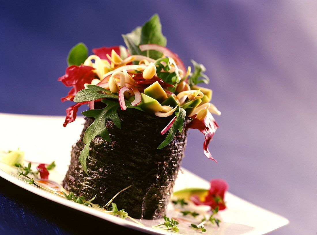 Nori leaf top hat filled with vegetables