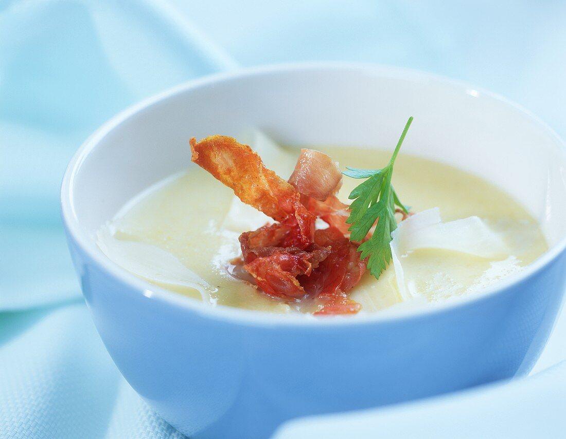 Polenta soup with Parma ham