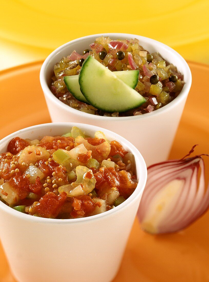 Tomato relish & cucumber relish (will keep about 6 months)