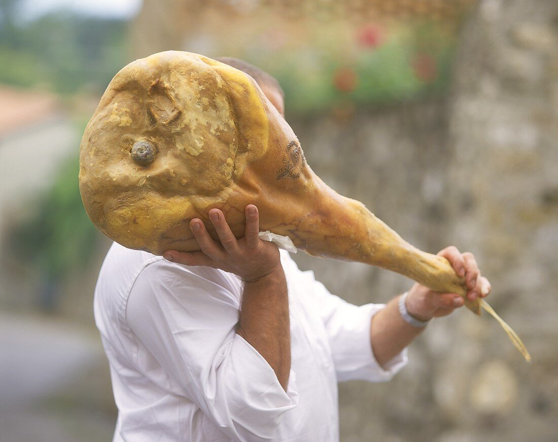 Man carrying San Daniele ham (with seal of quality)