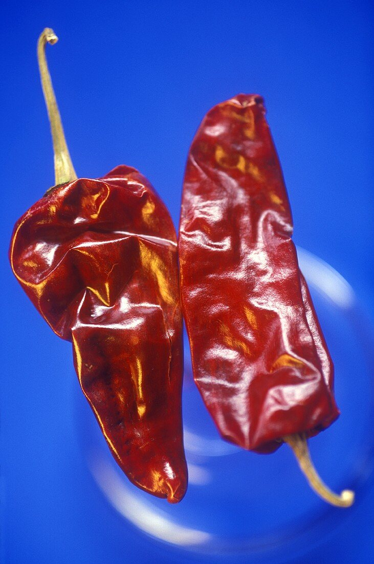 Two dried red chili peppers