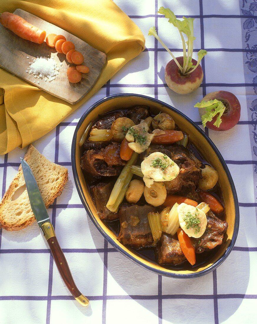 Burgundy oxtail ragout and marrow dumplings