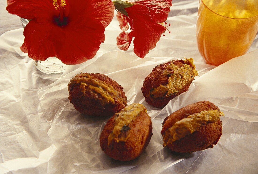 Acaraje (bean balls stuffed with pepper paste, Brazil)