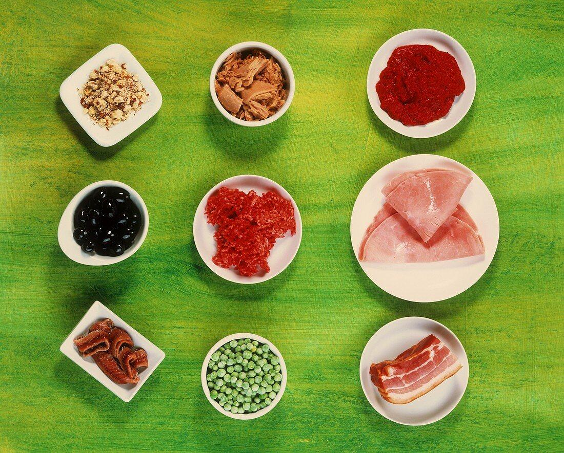 Ingredients for pasta dishes: tomato puree, ham, peas etc.