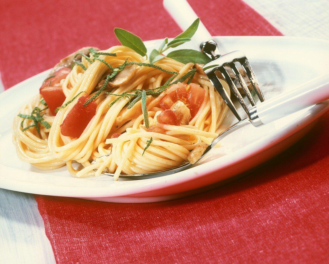 Spaghetti all'umbra (Spaghetti with tomatoes, mushrooms & sage)