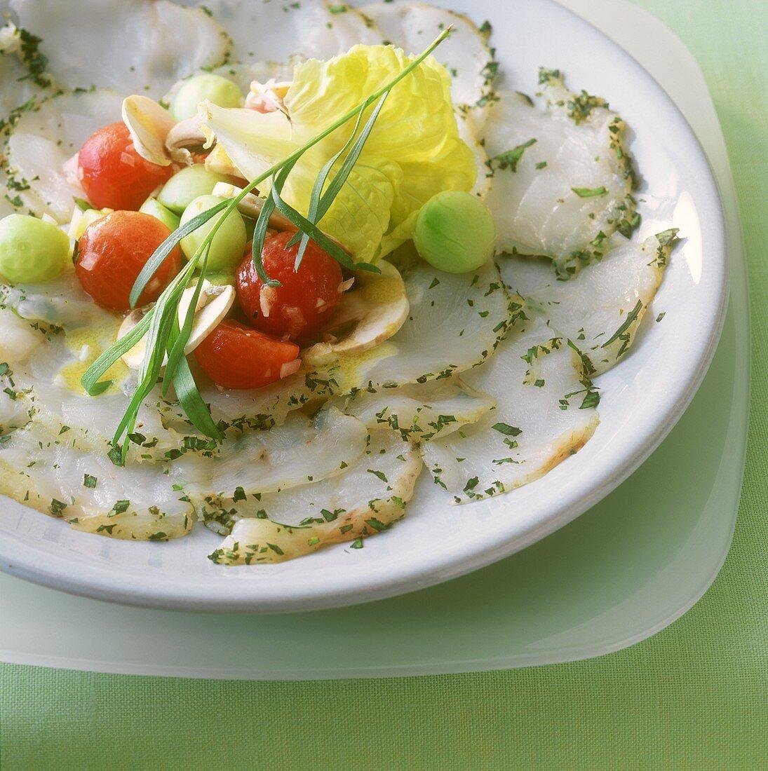 Carpaccio salad with monkfish