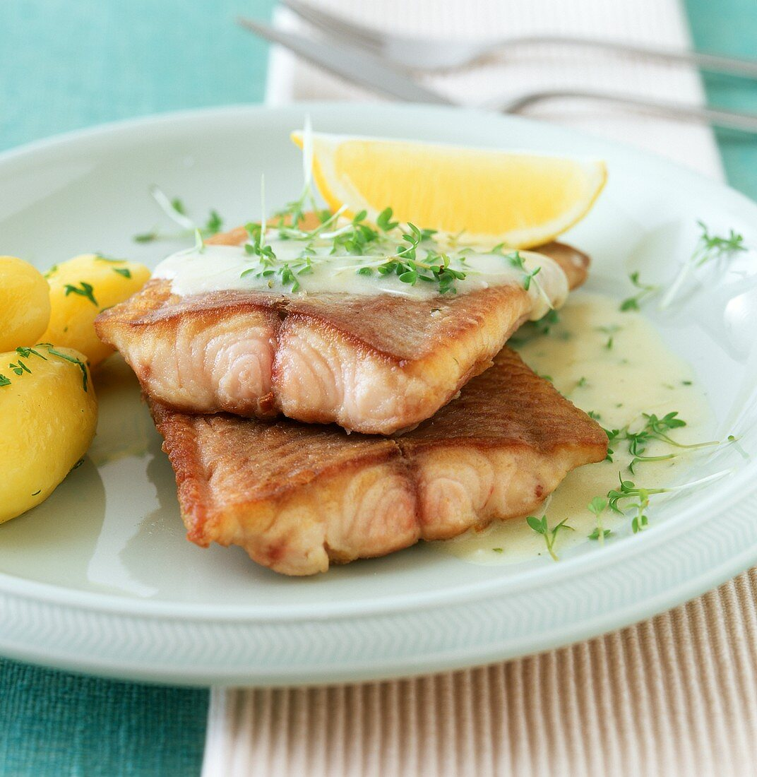 Fried catfish fillets with cress sauce
