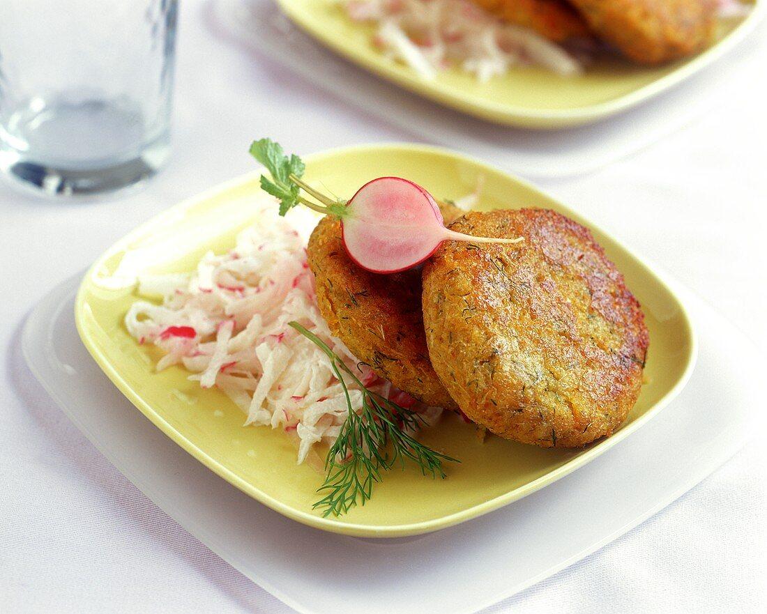Green rye burger with spicy radish salad