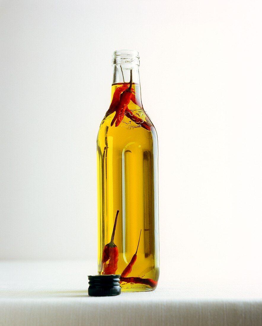 Olio santo (olive oil with peperoncini)