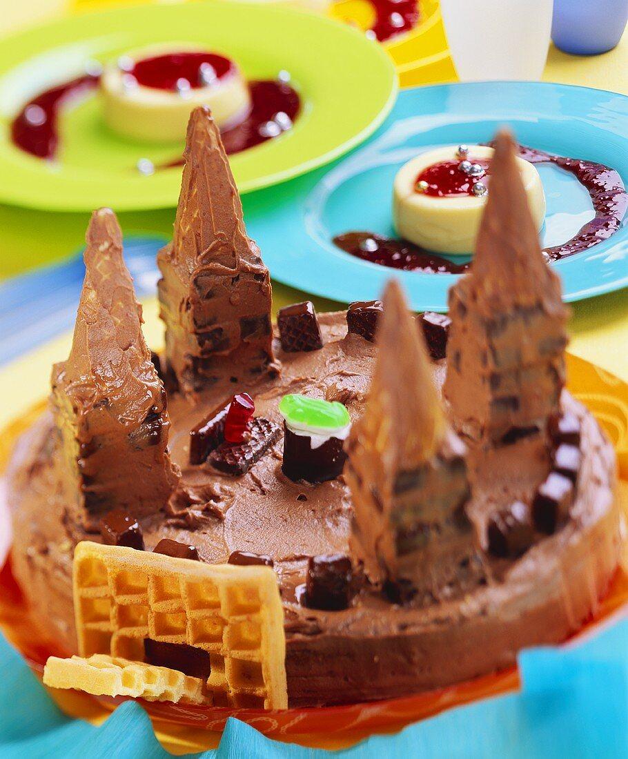 Castle cake and vanilla blancmange for children's party