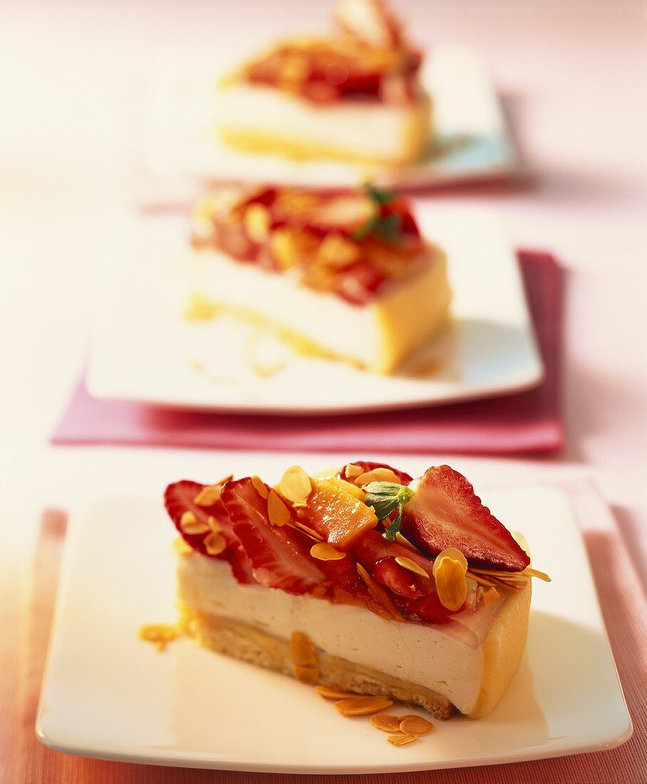 Strawberry and papaya quark cake