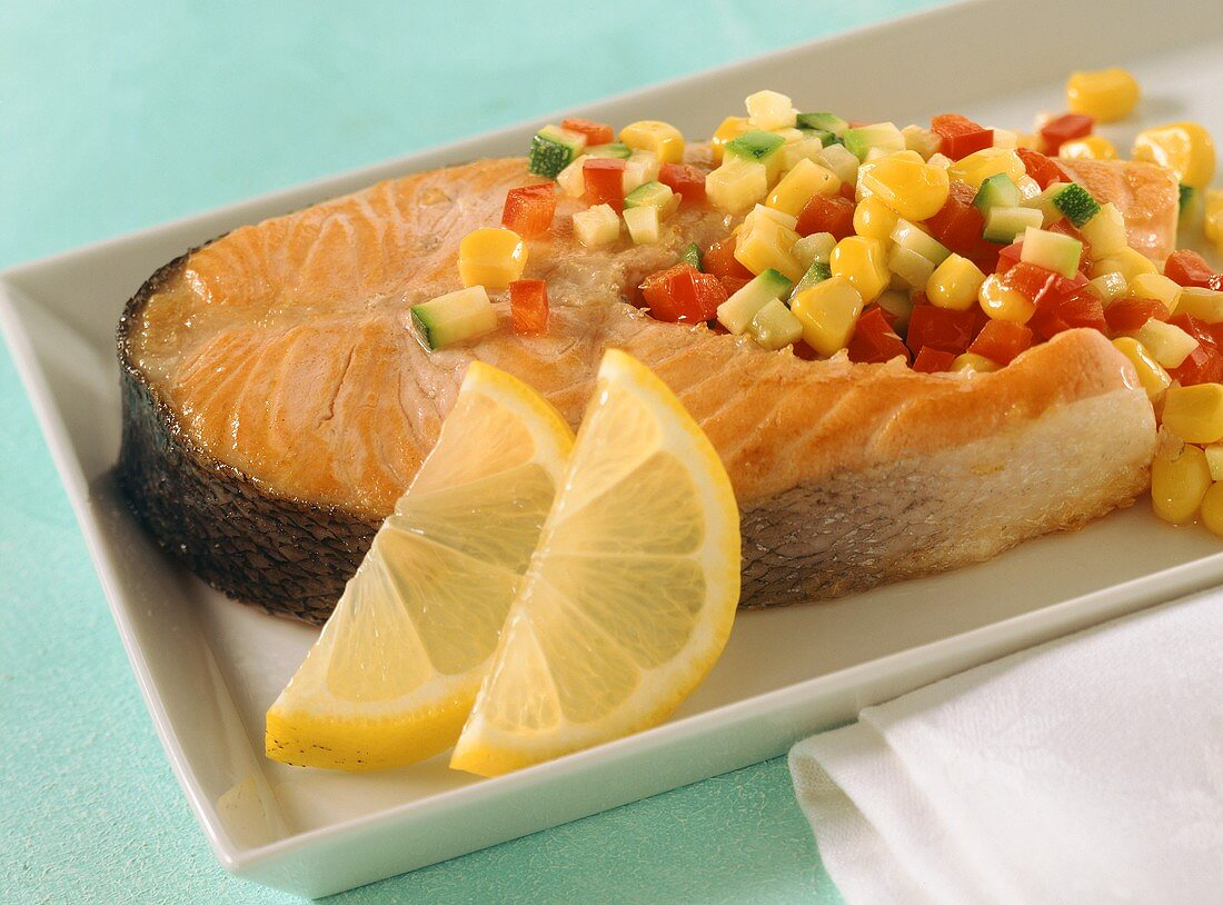 Salmon cutlet with vegetables
