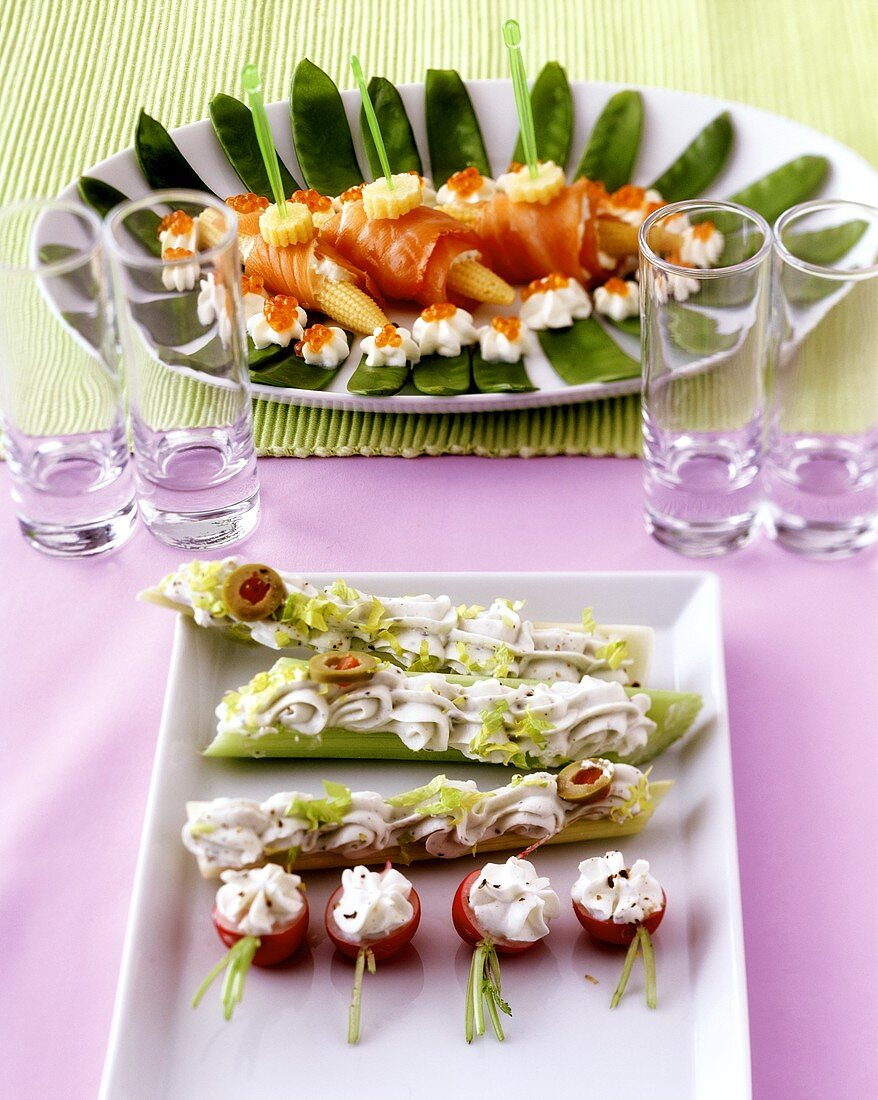 Mangetout and sweetcorn finger food and vegetables snacks