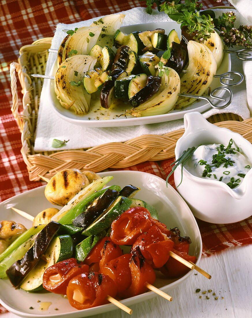 Mixed vegetable kebabs and aubergine and courgette kebabs