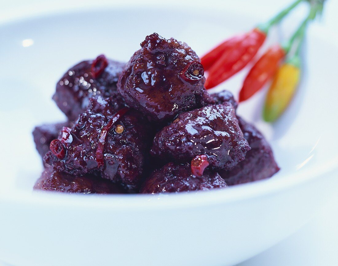 Salsiccia lucana (sausage balls in red wine sauce with chili)
