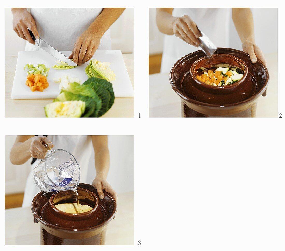 Making Tunisian pickled vegetables