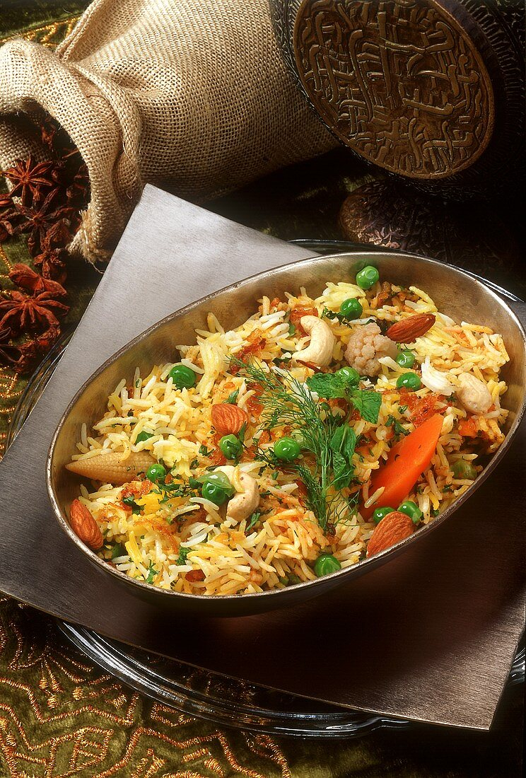 Shahi biryani (basmati rice with vegetables and nuts, India)