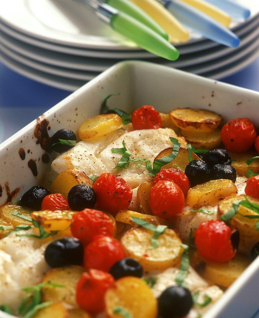Merluzzo al forno (cod with potatoes, olives & tomatoes)