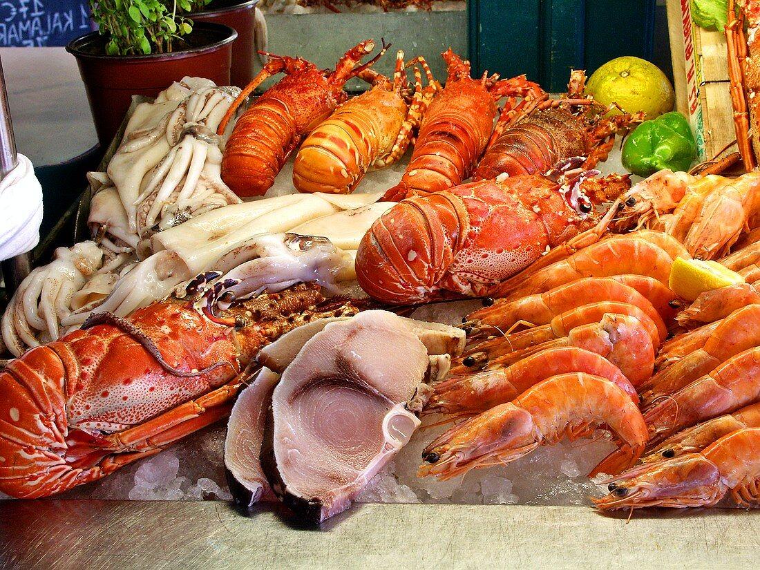 Fish buffet: squid, lobster, shark steak, shrimps