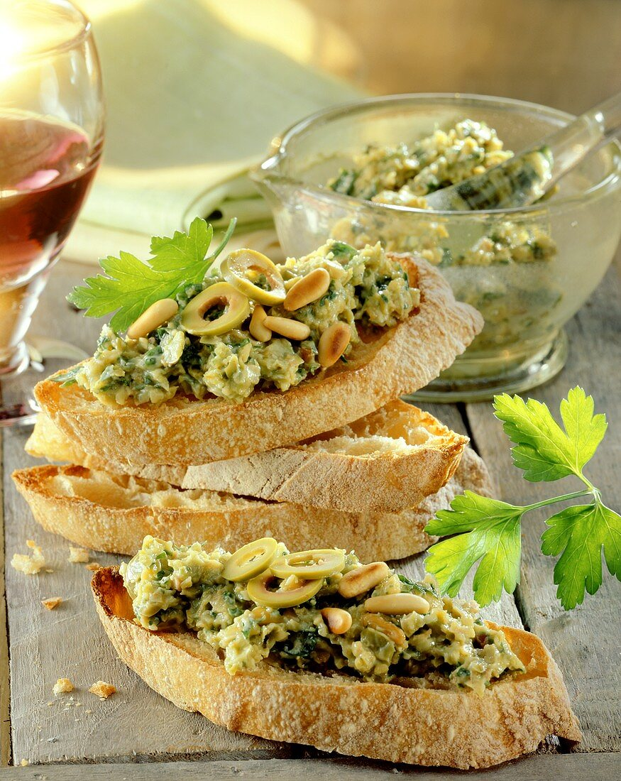 White bread with olive and anchovy paste