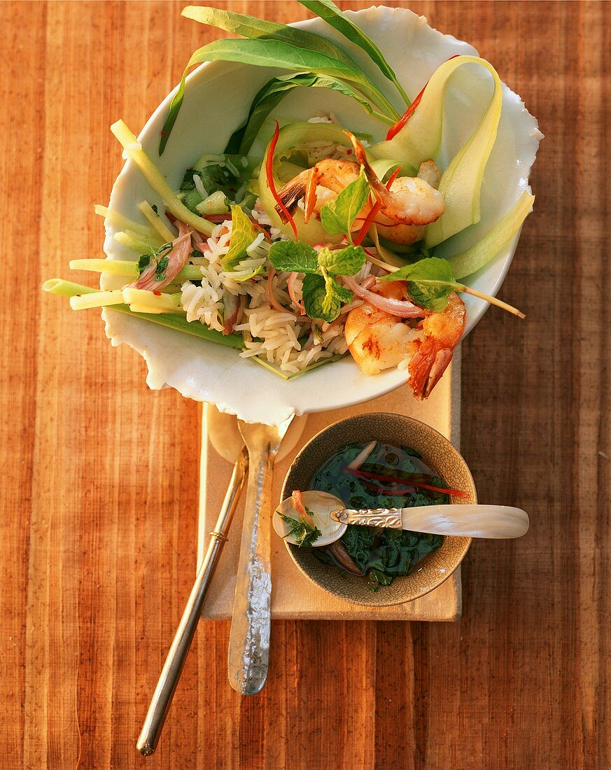 Spicy rice salad with shrimps and chili (Bali, Indonesia)