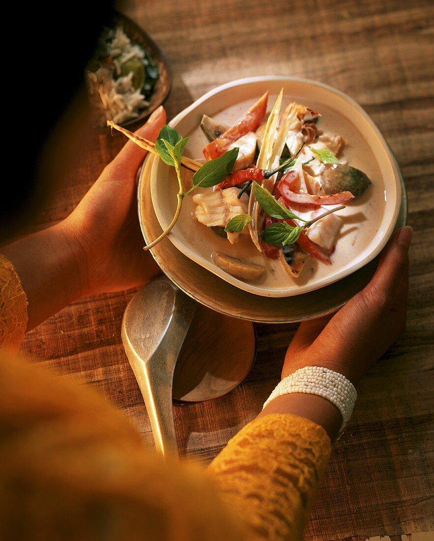 Banana and shrimp ragout (Bali, Indonesia)