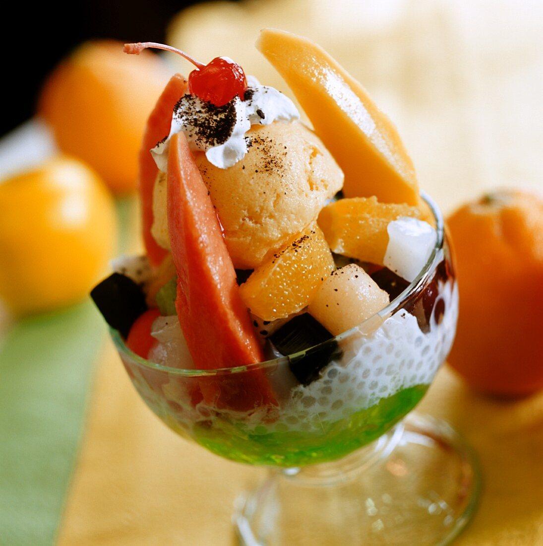 Ice cream sundae with fruit and sago cream (China)