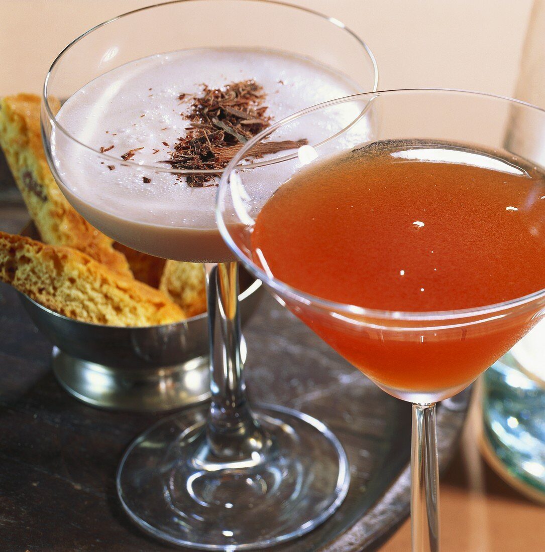 Two variations on Martini with hazelnut liqueur