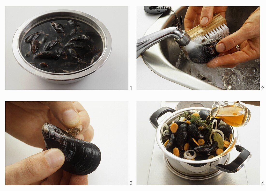 Preparing mussels in stock
