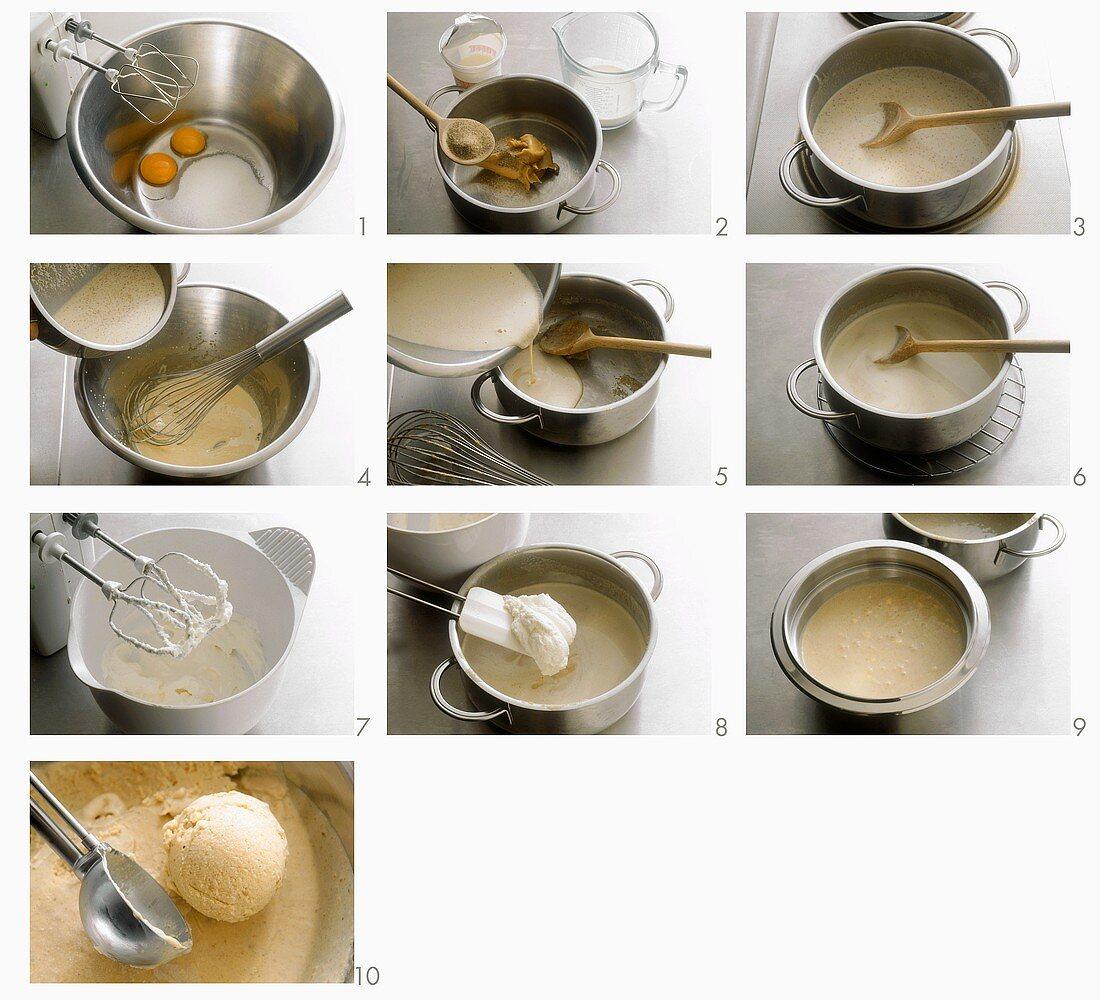 Making peanut ice cream
