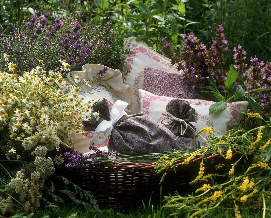 Home-made herb pillows (from cultivated and wild herbs)
