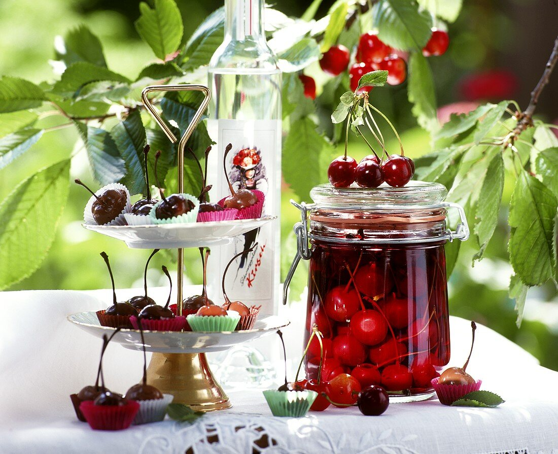 Cherry compote, chocolate cherries and cherry schnapps