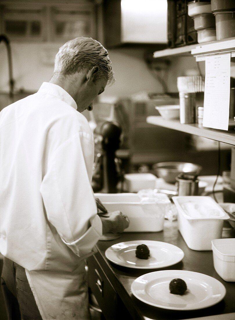 Chef preparing desserts