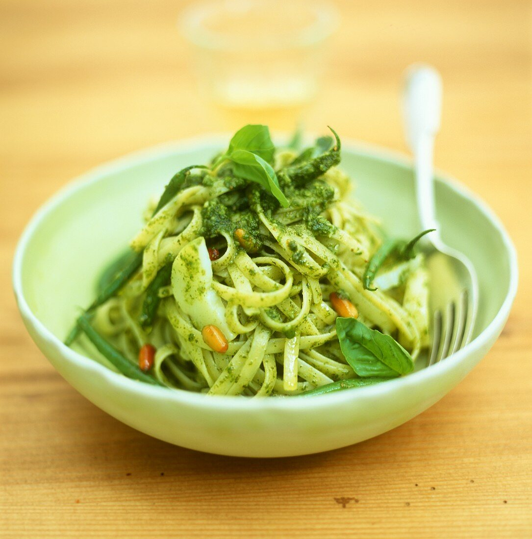 Linguine alla genovese (Ribbon pasta with pesto, Italy)