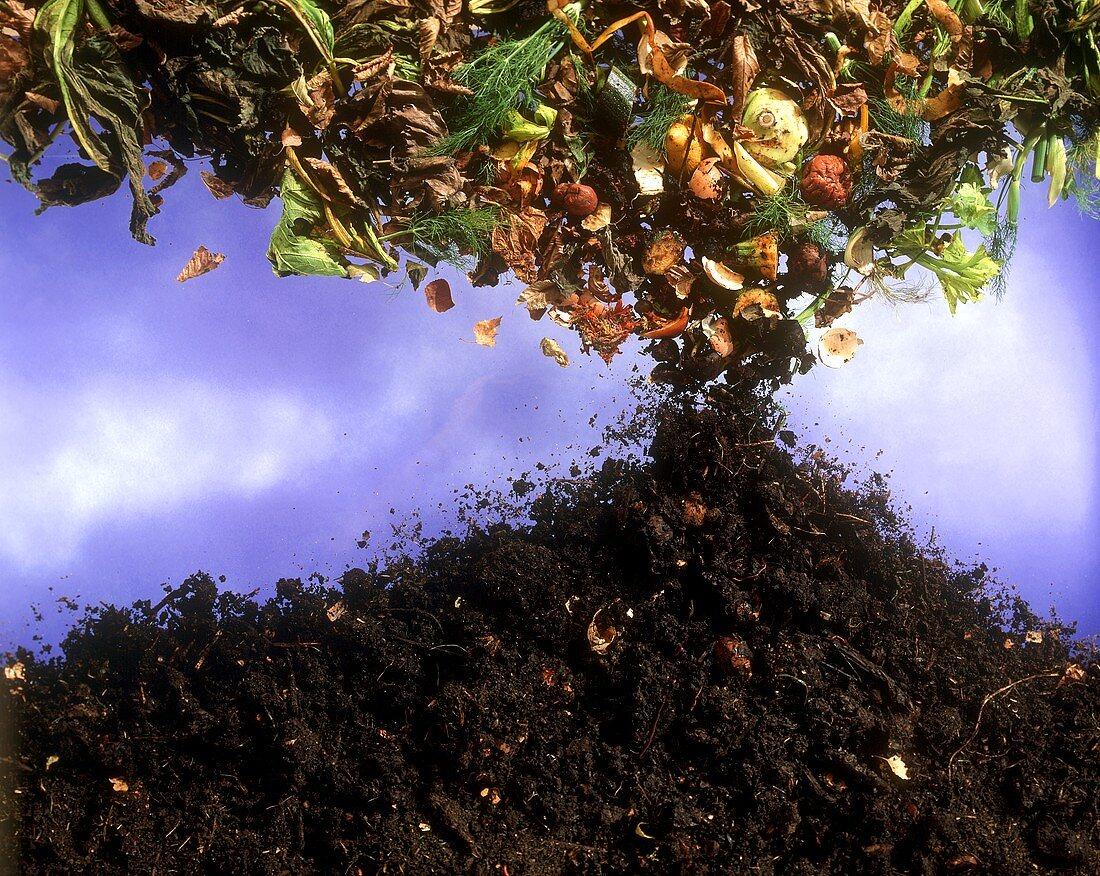 Leaves & vegetable waste falling on soil, symbolising compost