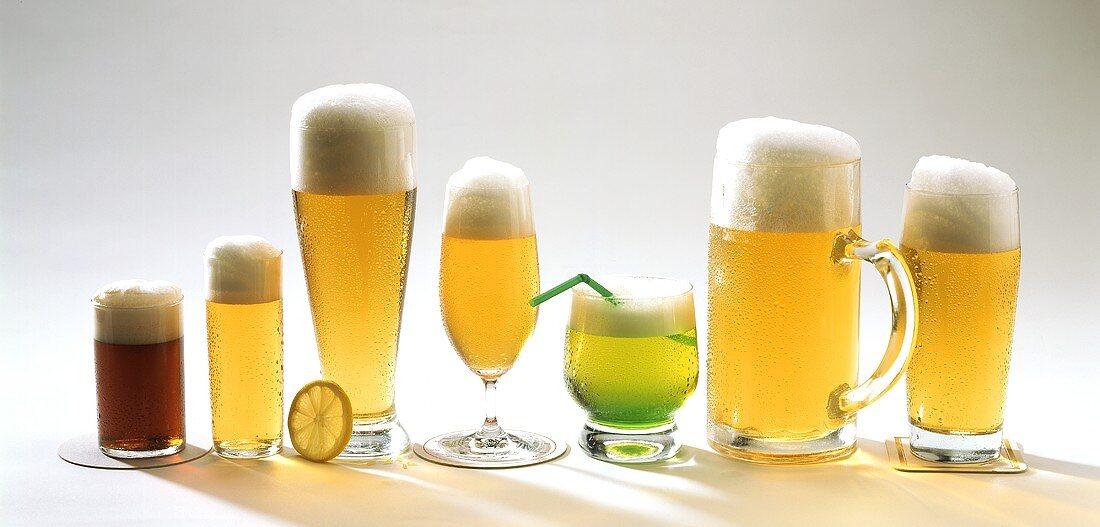 Various beers in a row