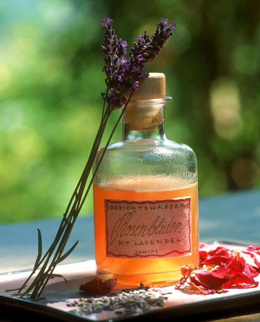 Home-made rose tonic lotion with lavender