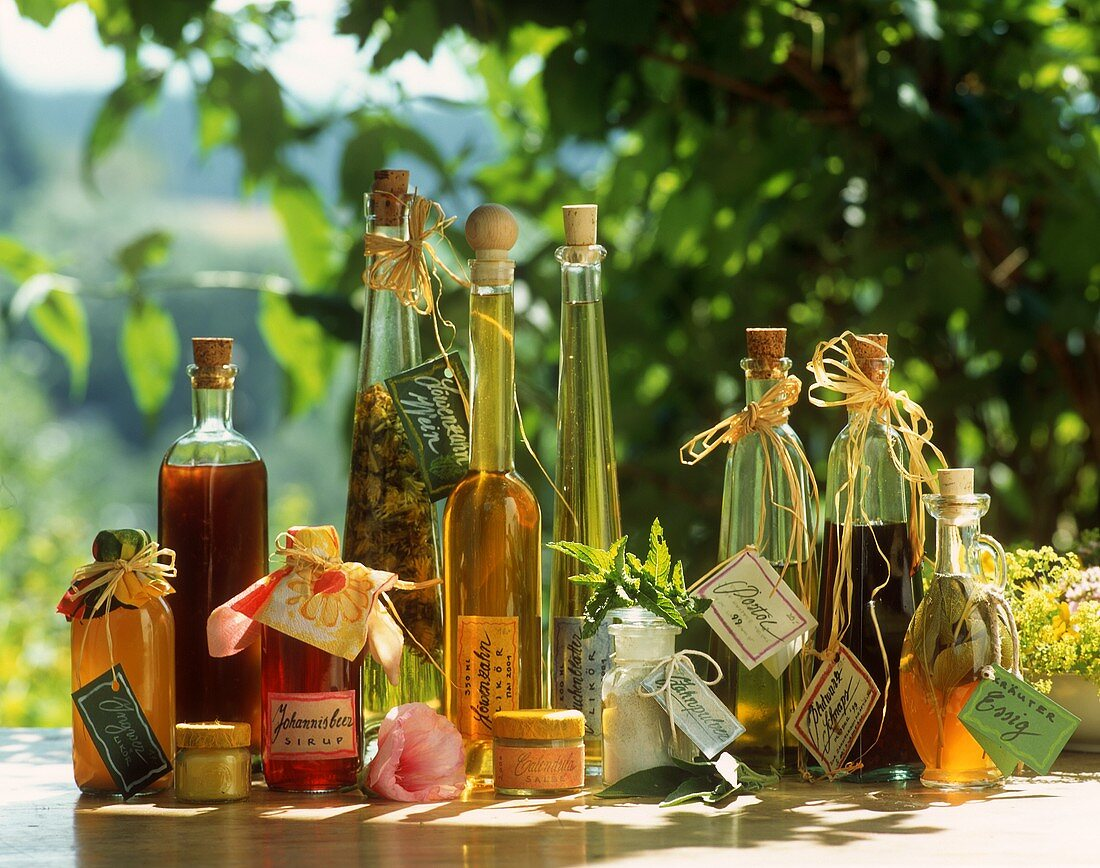 Herb liqueurs, vinegar, syrup, ointment, tooth powder (home-made)