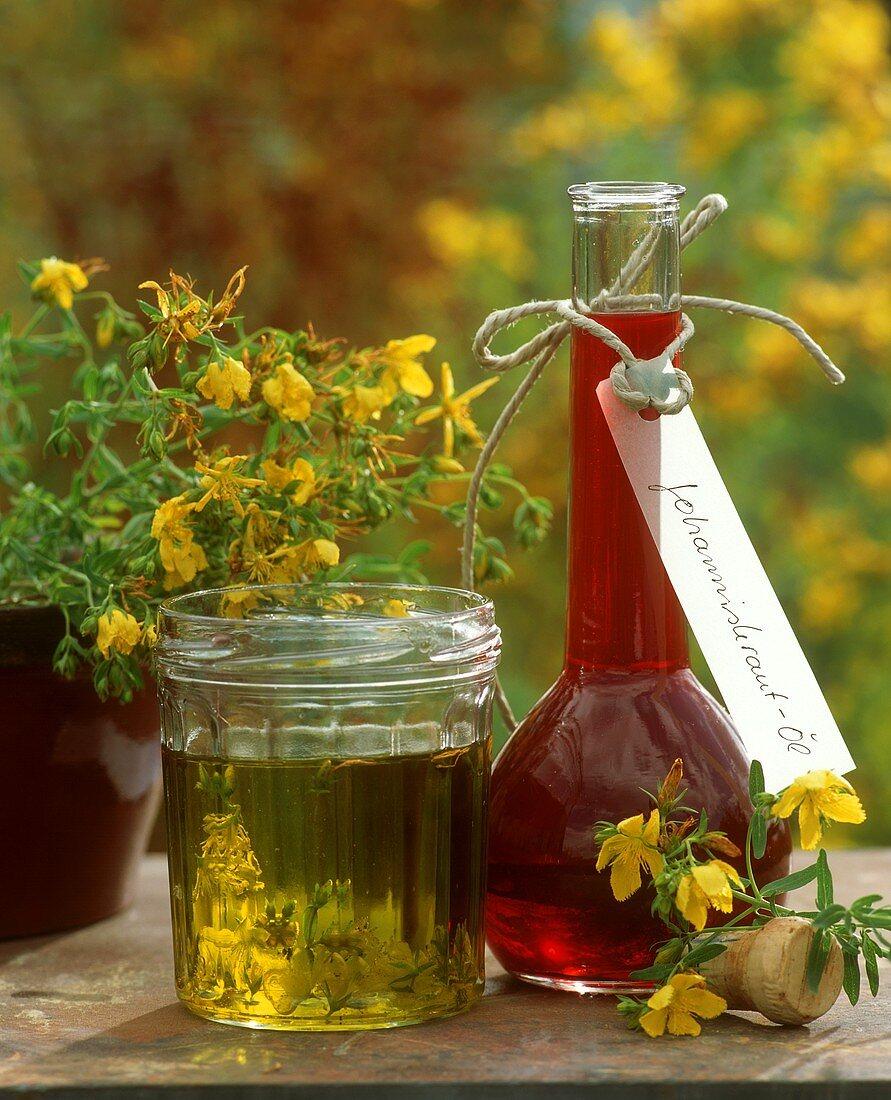 Bottle and glass of St. John's wort oil (medicinal oil)