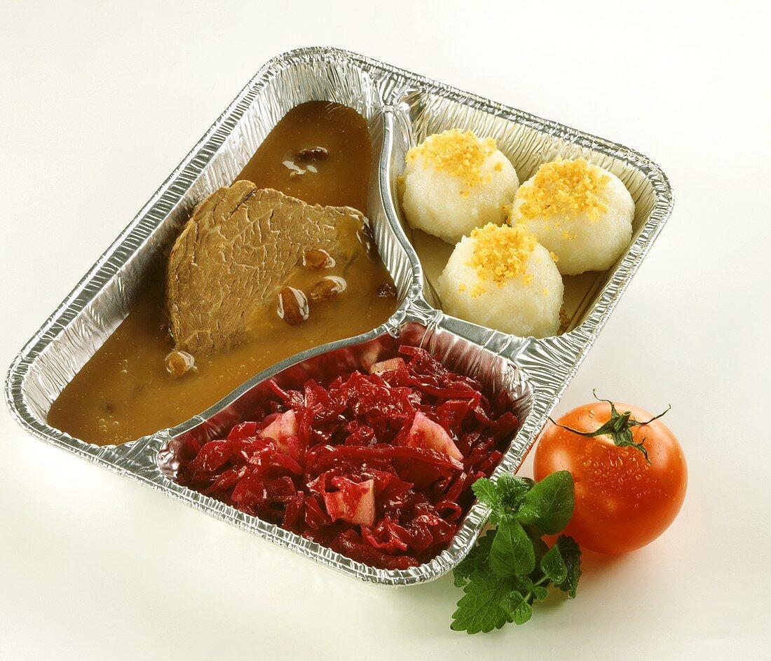 Rheinischer Sauerbraten with dumplings & red cabbage