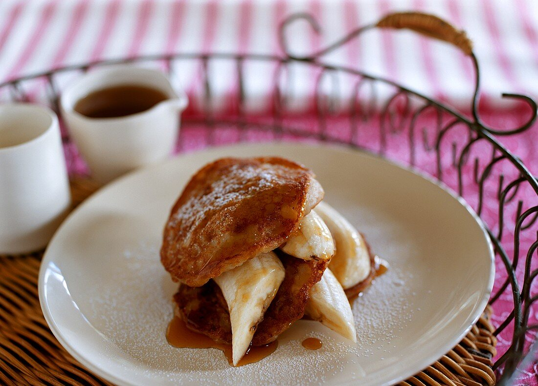 Coconut pancakes with bananas