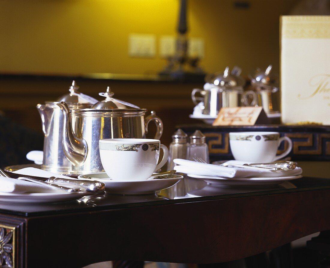 Table laid for tea in the 'Merrion', Dublin, Ireland