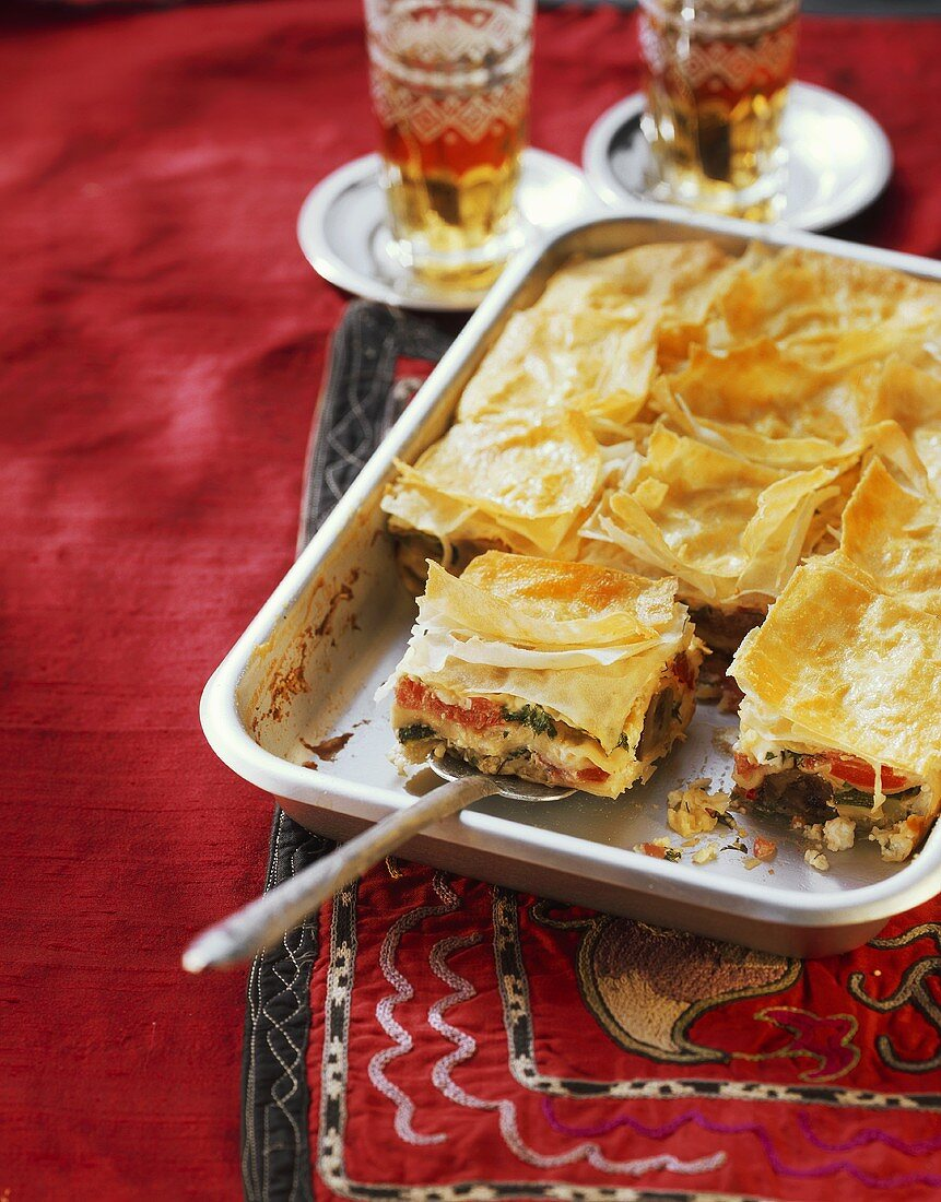 Borek with vegetable and sheep's cheese filling